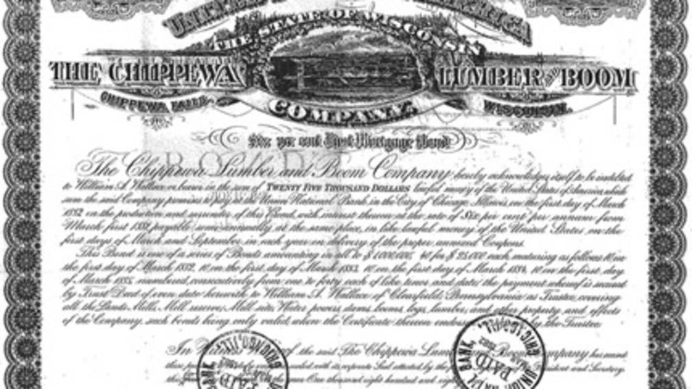 Chippewa Lumber Boom Co. Stock certificate