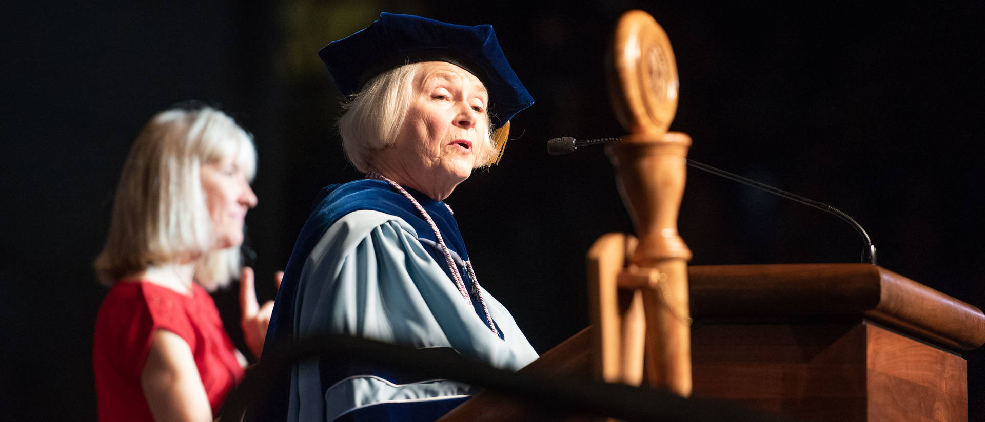 Nancy Fugate Woods speaking at commencement