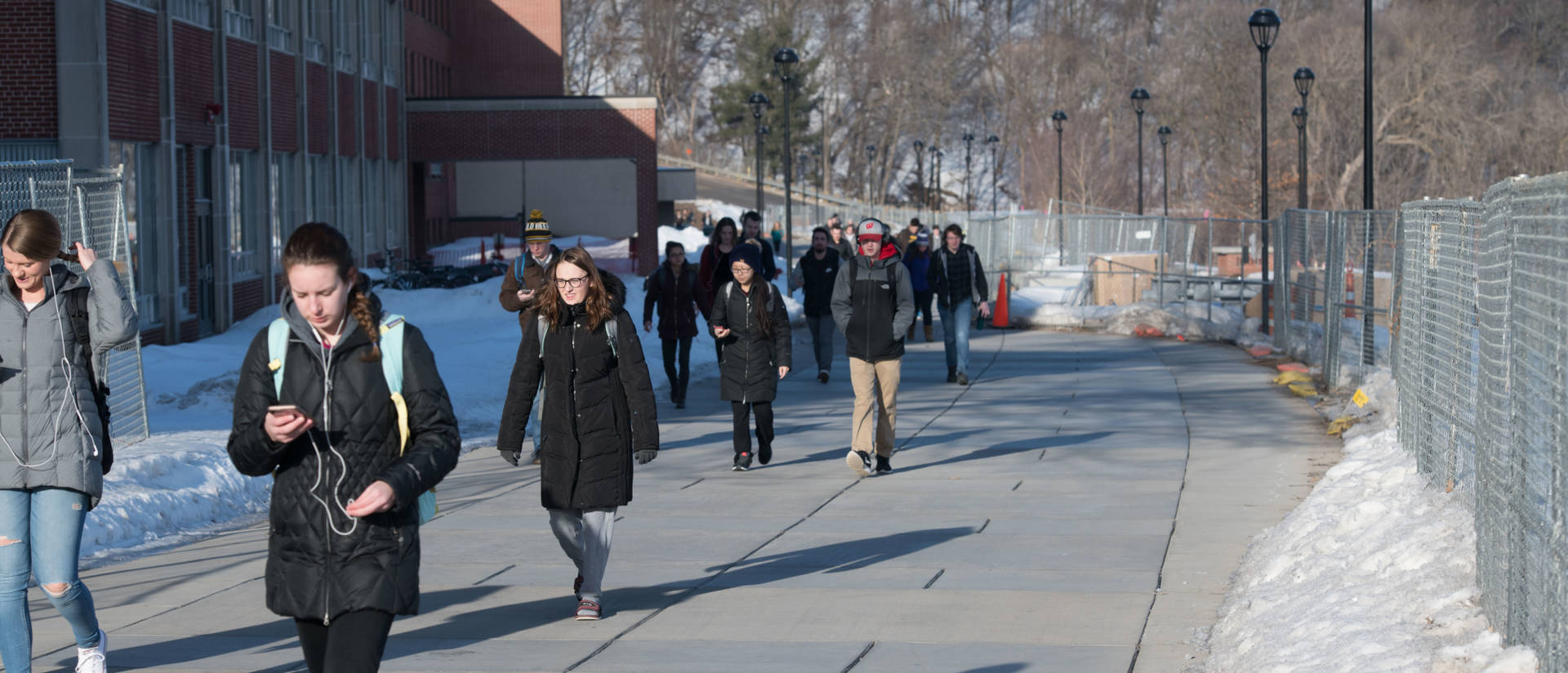 Students on campus in early spring