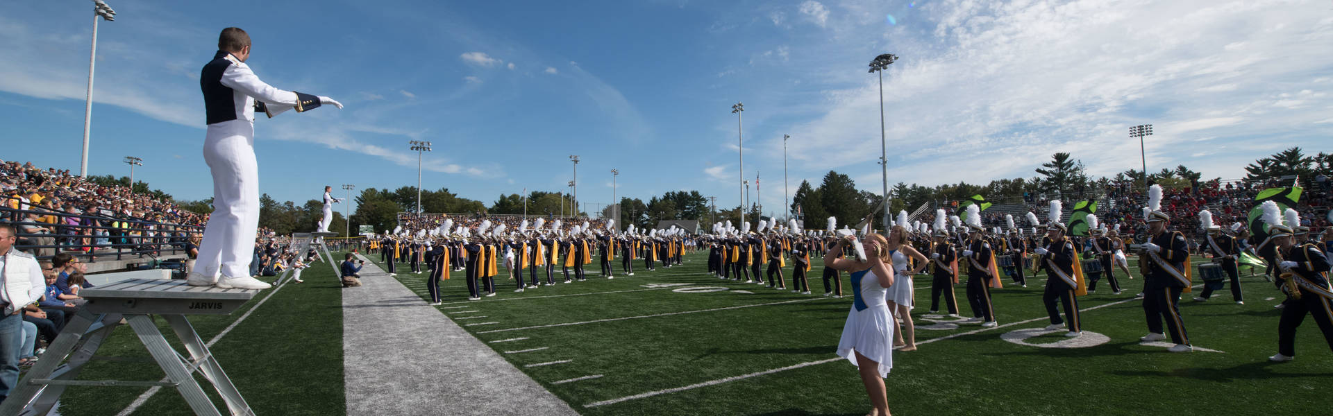 Homecoming Blugold Marching Band on the field