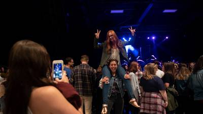 Crowd having fun before MisterWives show