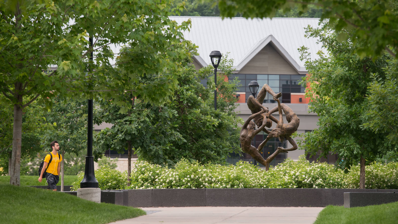 Sculpture in center of campus