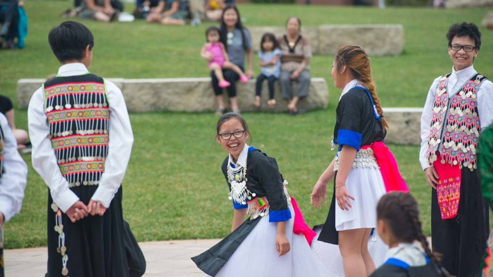 ASian Pacific heritage week, student on the mall in Hmong traditional clothing