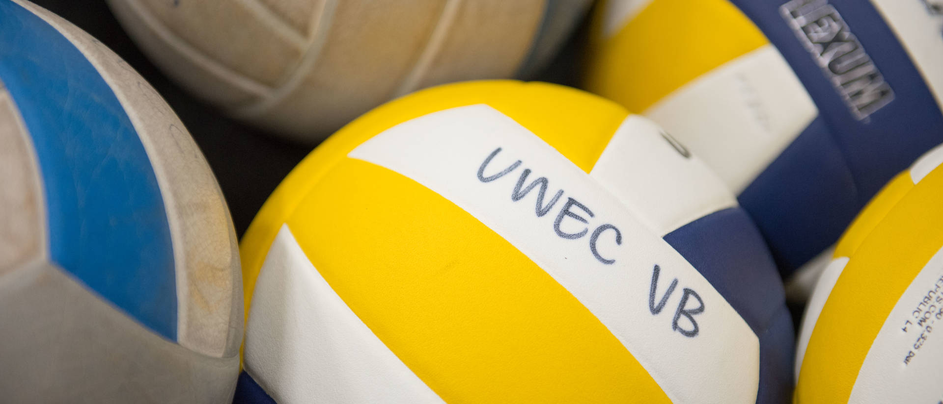Pile of UWEC colored volleyballs