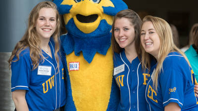 Blu with Student Orientation Staff