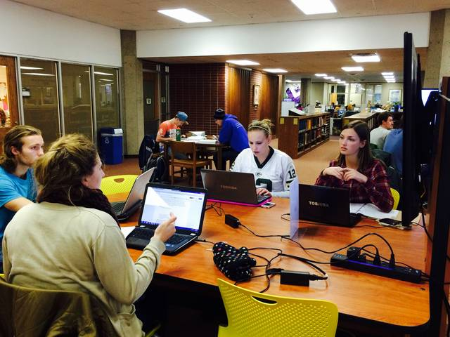Students at work in the library