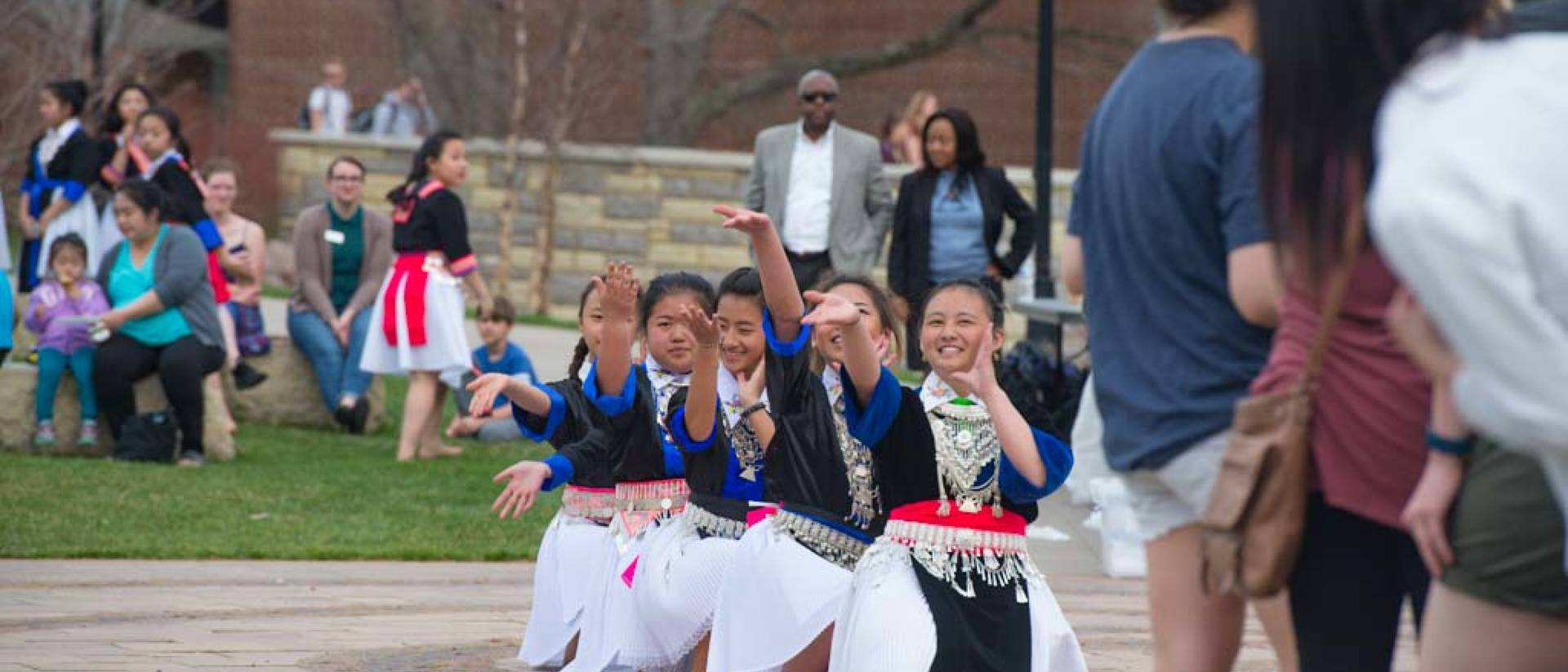 Dancing on the campus mall for Asian Pacific Islander heritage month celebrations