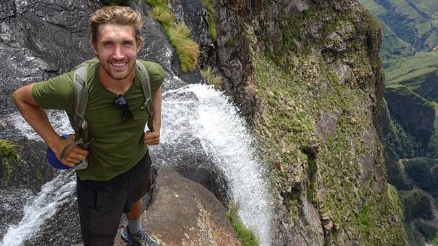 UW-Eau Claire alum Andy Kleist at Tugel Falls in South Africa