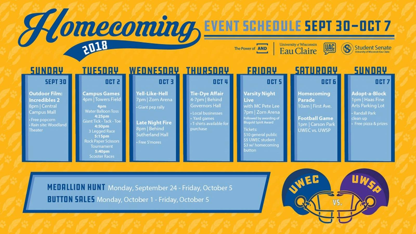 Homecoming Schedule 2018