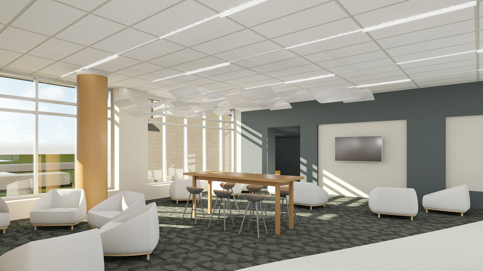 Rec room in suit style residence hall