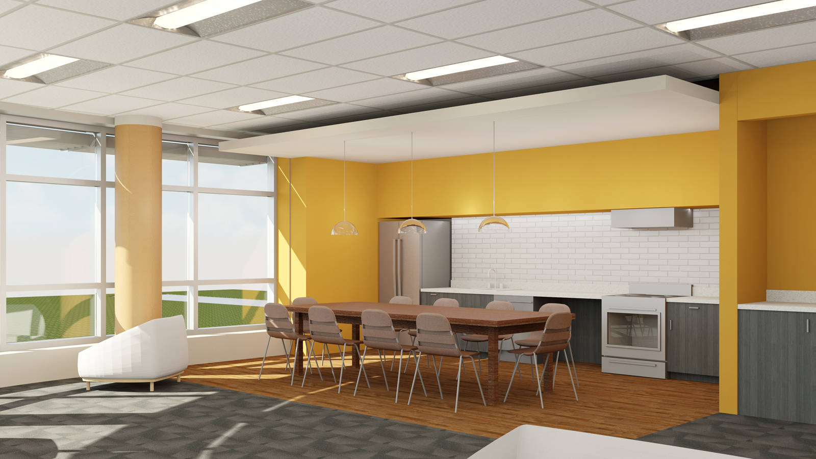 Lounge kitchen in suit style residence hall