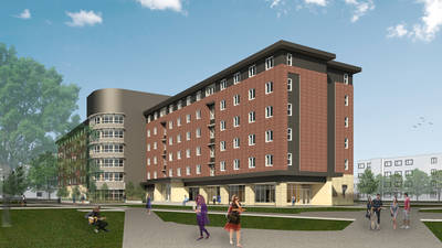 Outside of suite-style residence hall