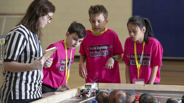 Blugold Beginnings mentors have worked with students in 10 area schools in recent years to encourage interest in robotics.
