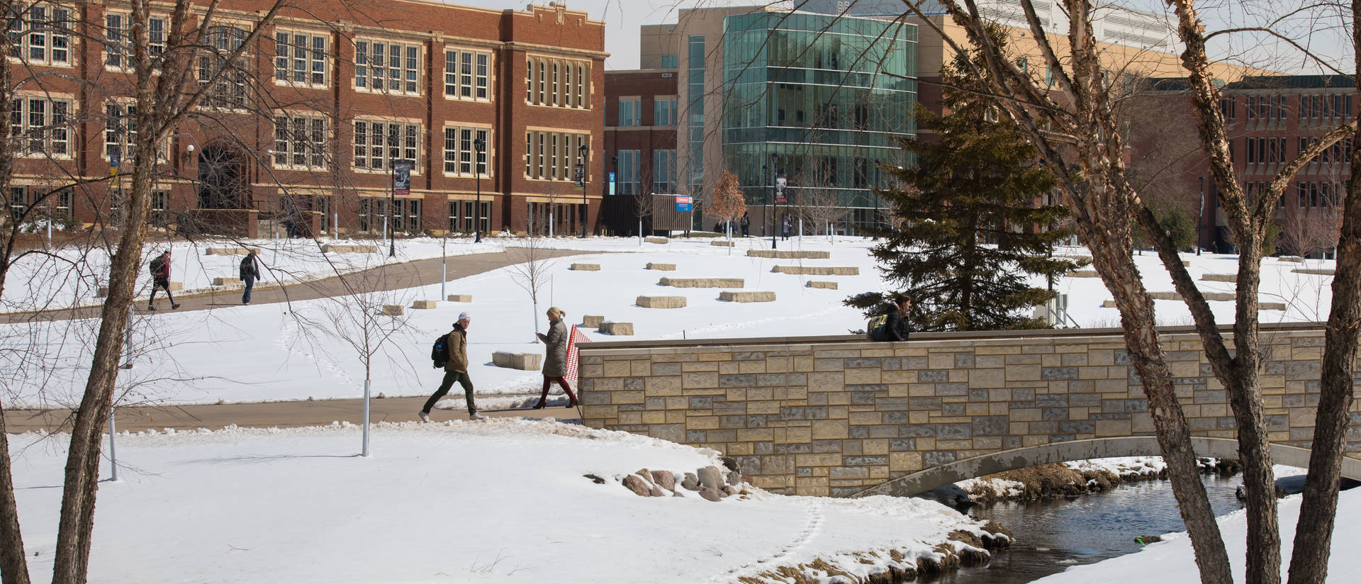 Snowy UW-Eau Claire campus mall