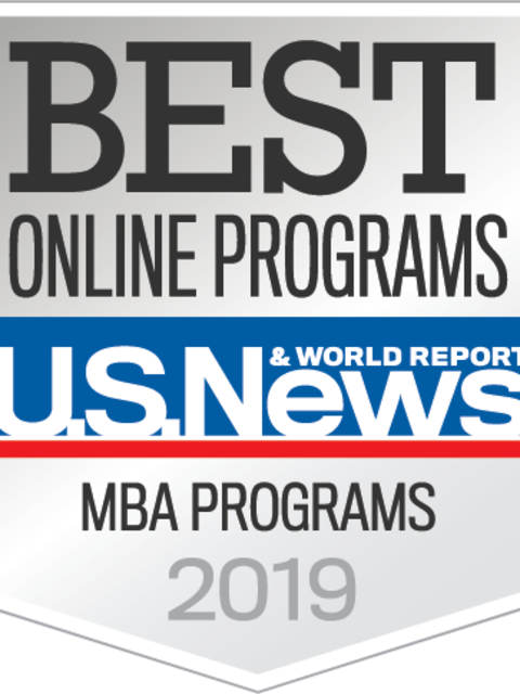 U.S. News & World Report badge for online MBA programs