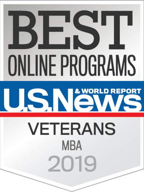 U.S. News & World Report badge for online MBA/veterans programs