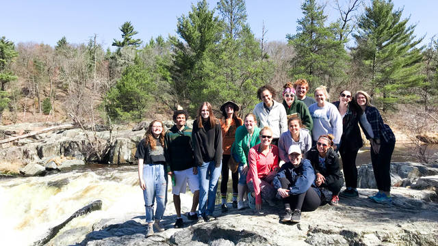 Group of students posting on little niagra