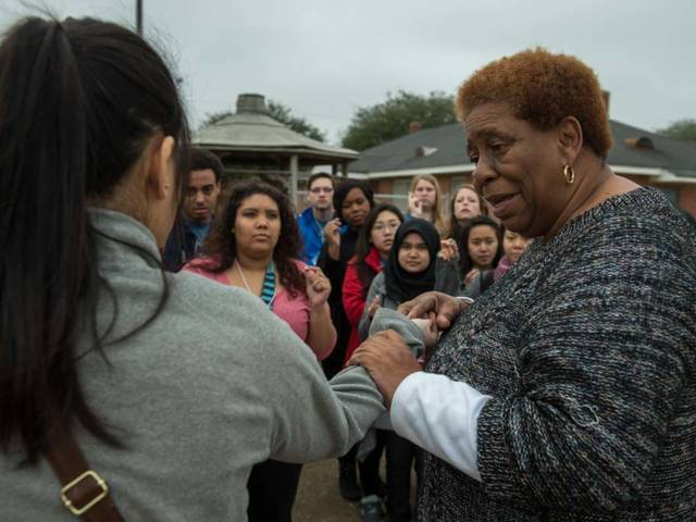 Joanne Bland with students during UW-Eau Claire Civil Rights Pilgrimage
