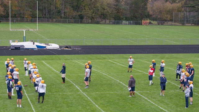Blugold football practice on Simpson Field