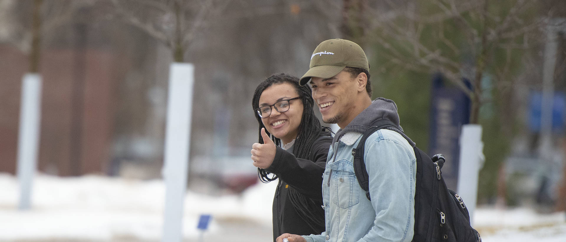 UW-Eau Claire students walk to class during a winter day.