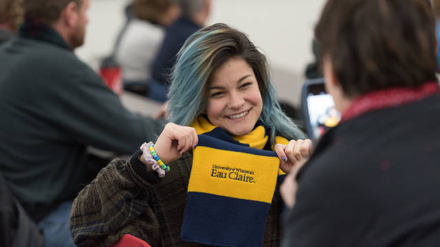 UW-Eau Claire future Blugold student visits campus for Admitted Student Day.