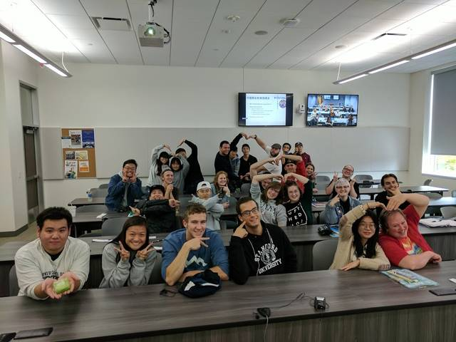 Students from China who are studying at UW-Eau Claire often join students in Chinese language classes, giving all the students a chance to practice speaking their non-native language.