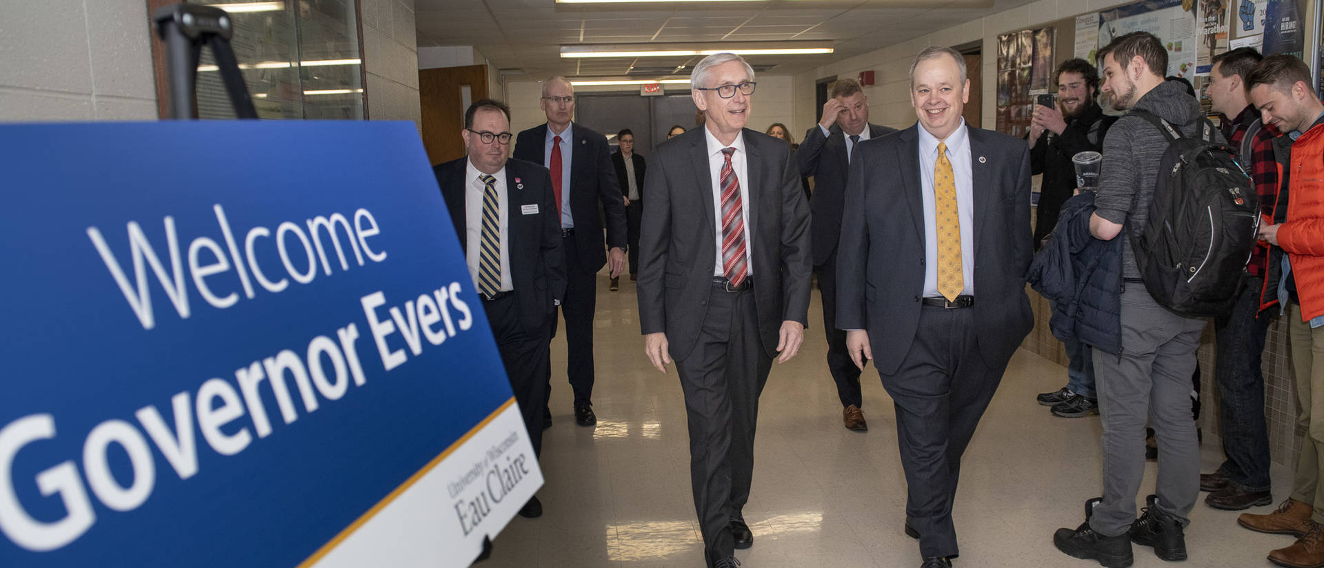 Governor Tony Evers and Chancellor James Schmidt in Phillips Science Hall