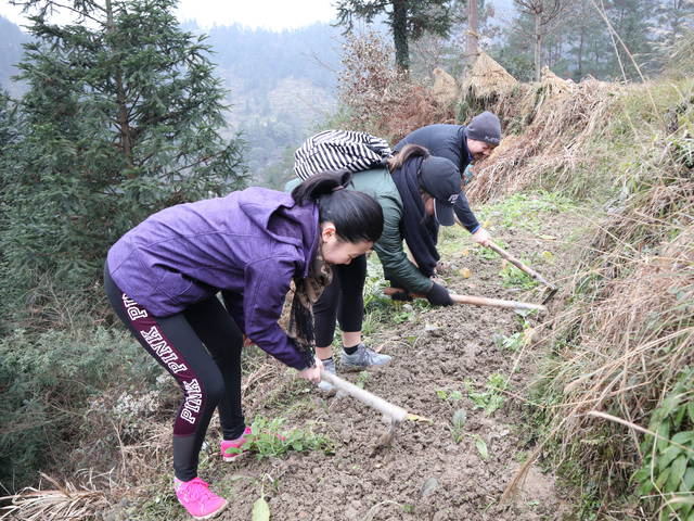 During an immersion in China, students spent a week living with host families in a remote village, joining the villagers in their daily chores and activities.