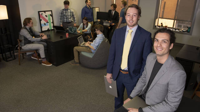 Alex Stout, left and Greylan Larson of Clearwater Labs software