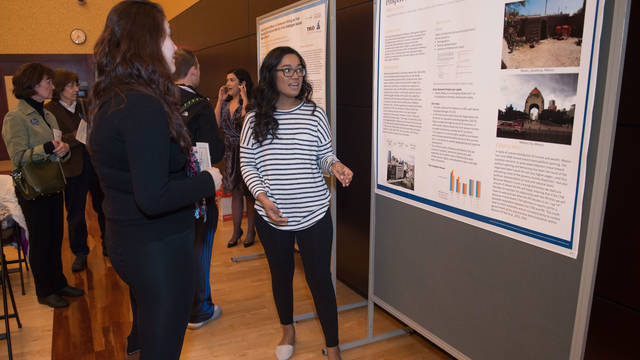 Mirella Espino presenting her McNair project at Trio Day