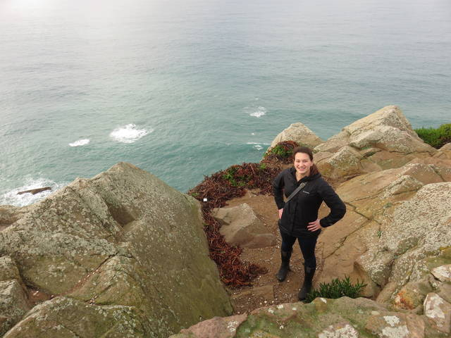 Courtney Brost in Portugal at Cabo da Roca, the westernmost point of the European continent.