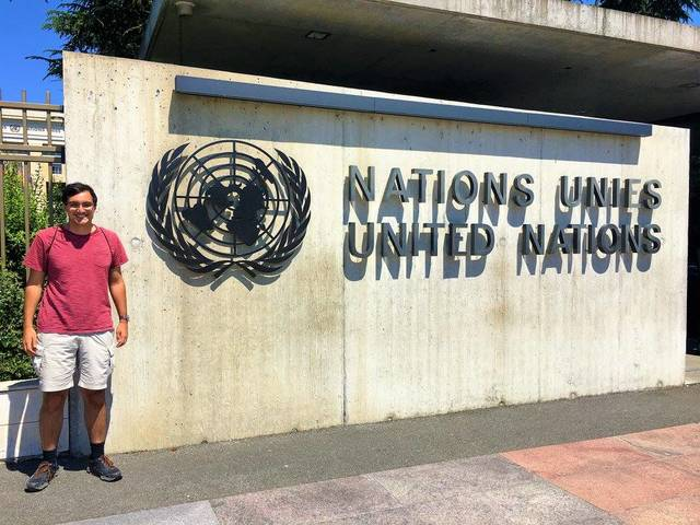 Kanu Shenoi at the United Nations building in Geneva, Switzerland.