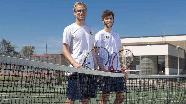 Blugold teammates Jackson Lindquist (left) and Danny Schoen discovered after becoming friends that in addition to sharing a passion for tennis, both also were born with the same rare heart condition.