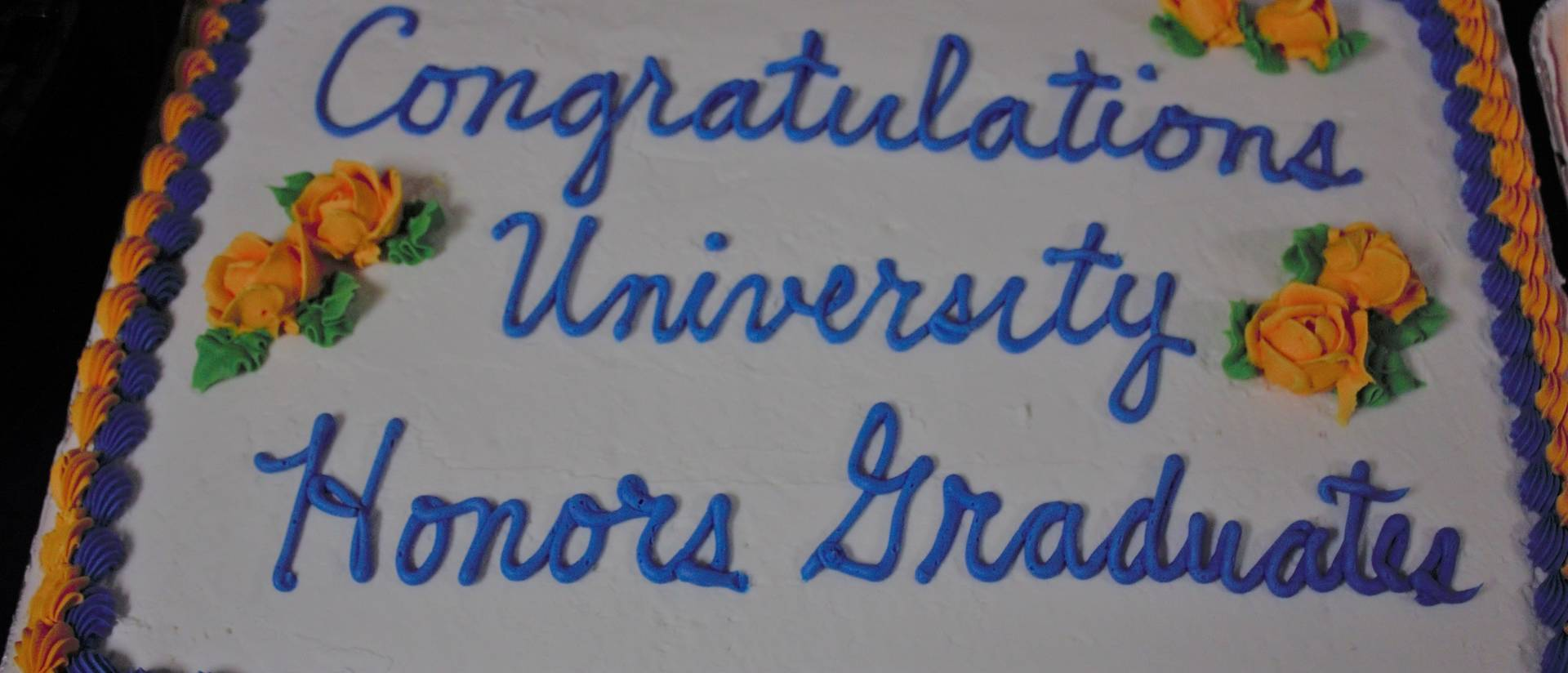 University Honors grad ceremony decorated cake