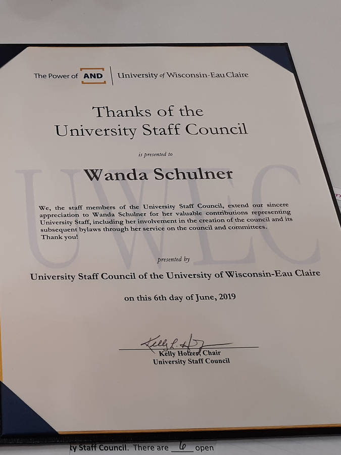 Wanda Schulner certificate of thanks from USC.