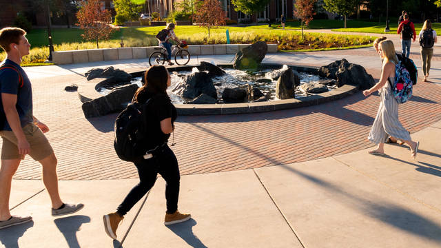 students walking near Stowe fountain