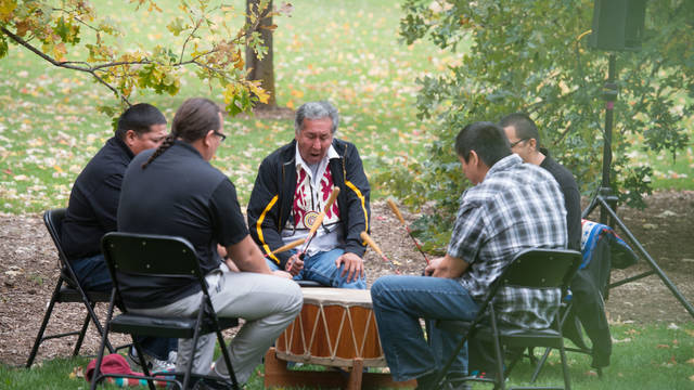 Ojibwe drumming at Indigenous Peoples Day