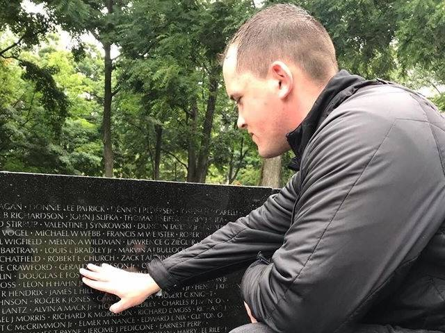 Ricky Schiff visiting Vietnam memorial wall in Washington D.C.