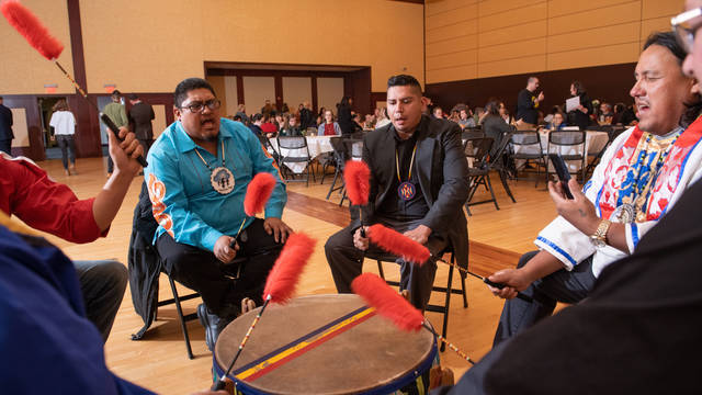 Drummers at the Indigenous Peoples Day event