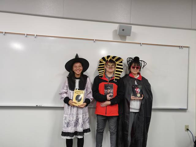 Prize winners for the Halloween contest in ESL 205