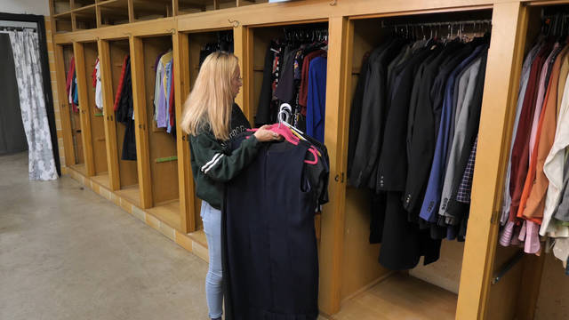Clothing racks in the Campus Closet