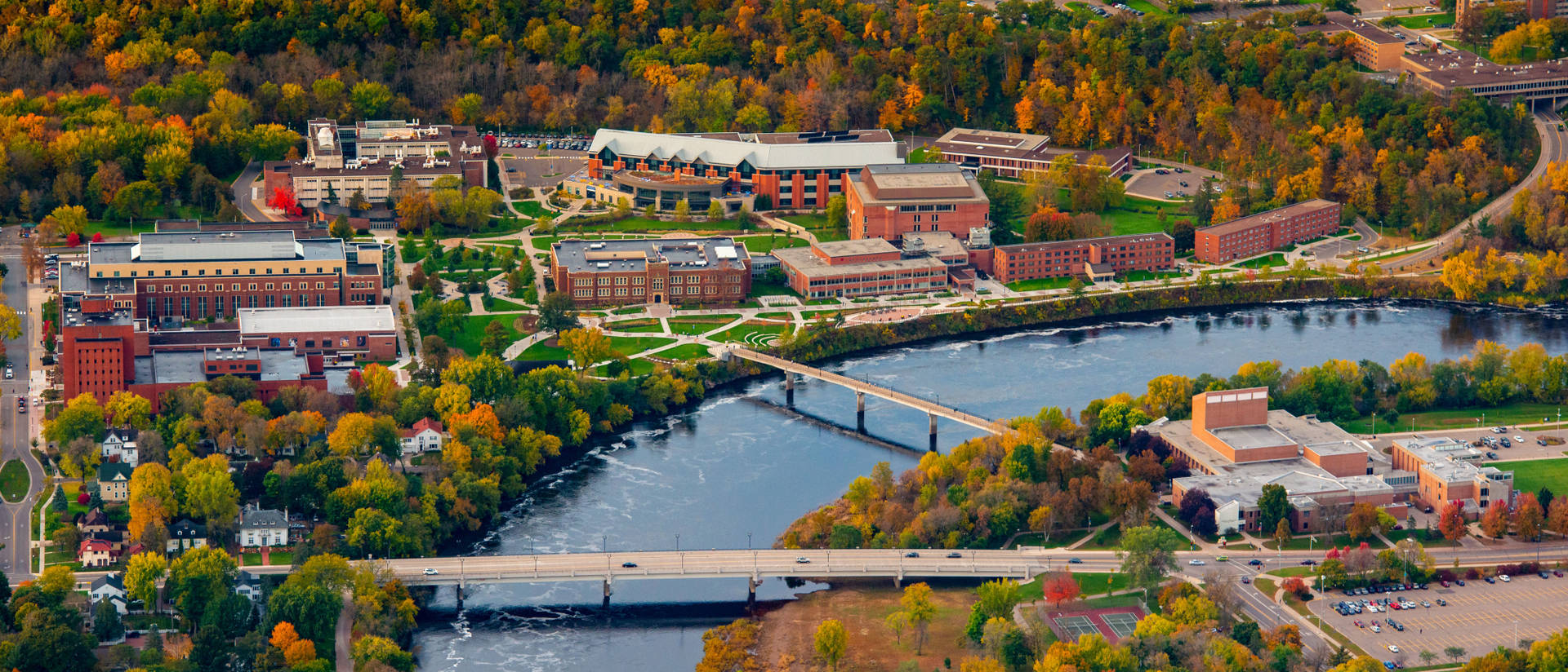 Aerial view of UW-Eau Claire campus