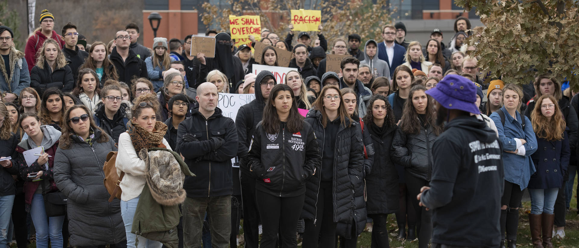 UW-Eau Claire students during walkout and protest, Nov. 25, 2019