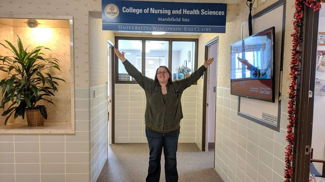 Kara Trainor will graduate with her nursing degree after completing her studies at UW-Eau Claire's nursing site in Marshfield.