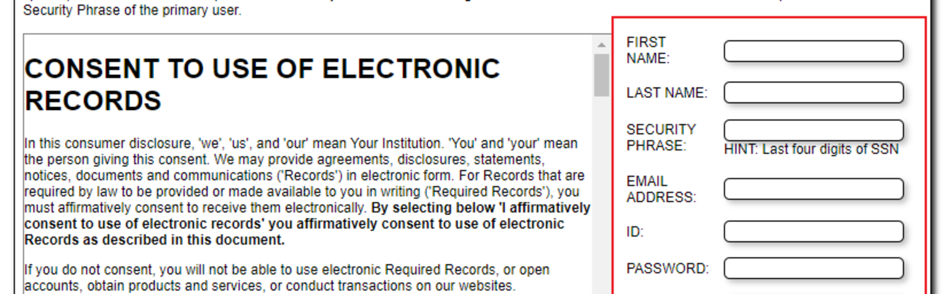Consent to Use of Electronic Records Screen