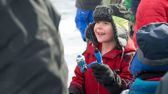 Youth participant in the 2019 Jig's Up Blugold Ice Fishing Contest