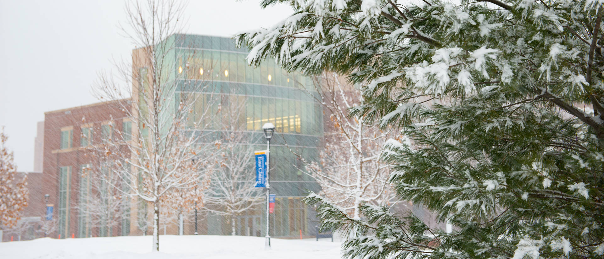 Centennial Hall during snowfall
