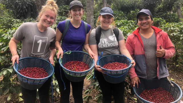 Blugolds (from left) Madison Seeger, Anna Timmerman and Haley Asuma spent time with a local Guatemalan farmer during a Winterim immersion.