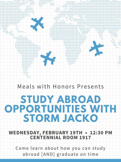 2020-02-19 Meals with Honors Poster Study Abroad