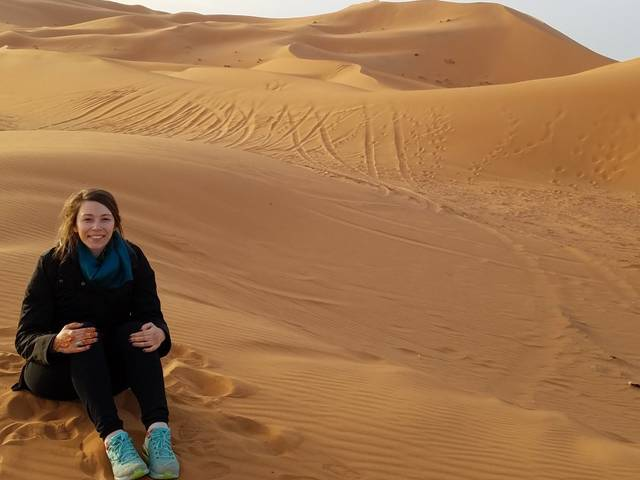 Laura Atchley in the desert in Morocco